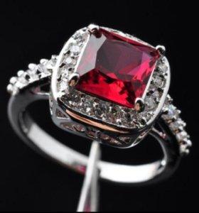 Кольцо женское серебро рубин фианит