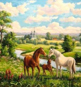 """Картина по номерам """"Лошади на лугу"""""""