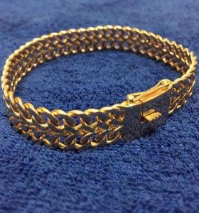 Золотой браслет зевс двойной панцырь мужской