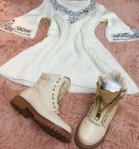 Платье вязаное и ботинки Balmain