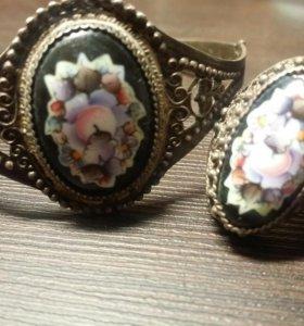 Винтажный комплект браслет+кольцо