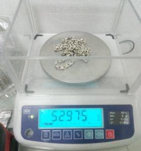 Продам цепь серебро плетение Бисмарт 53 грамм