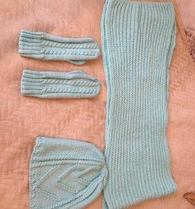 Комплект тепла ( варежки, шапка, шарф)