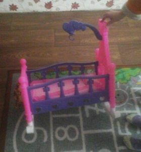 Кроватка для куклы до 50см,кровать конструктор