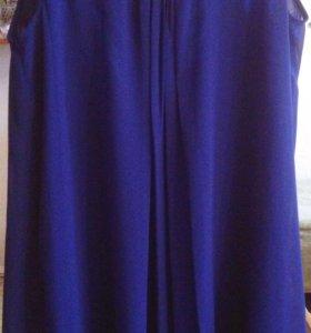 Платье летнее темно-синее шифоновое