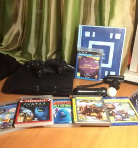 PS3+7 дисков+3 джойстика+Wonderbook+Камера