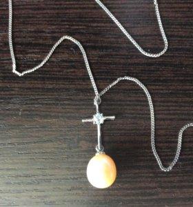 Цепочка с крестиком  серебрянная с жемчужиной