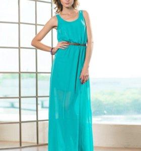 Платье в пол, цвет бирюза