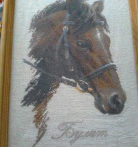 Вышивка крестиком голова лошади