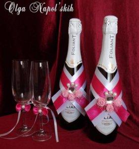 Украшение на шампанское розовое