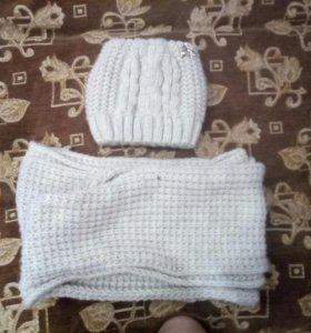 Шапка+шарф снуд НОВОЕ