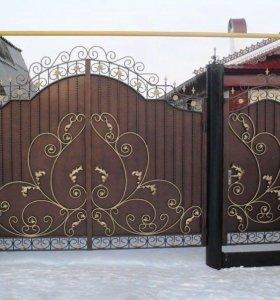Кованные ворот, калитка и заборы