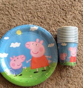 Тарелки, стаканы и шар  Свинка Пеппа новые