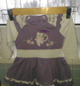 Платье для девочки, теплое