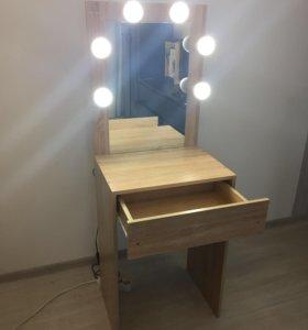 Стол с зеркалом и лампочками