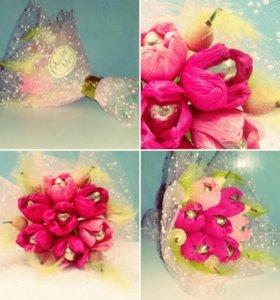 Букет из цветов с конфетами (осенний вальс)