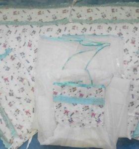 Бортики+ балдахин в детскую кроватку