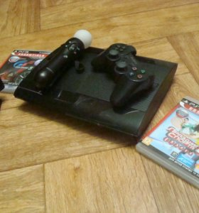 Sony PS3 SuperSlim, 500 GB, PS Move+игры