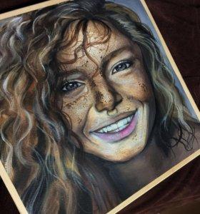 Картина девушки: масло