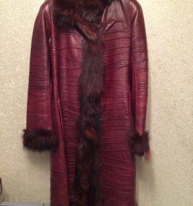 Пальто кожаное, натуральный мех