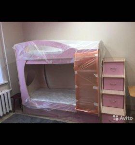 Кровать Орбита 2 NEW(190x80), лестница, матрацы