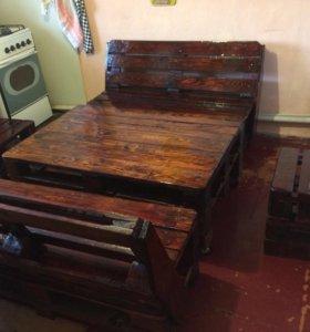 Комплект мебели из паллет в стиле Лофт.