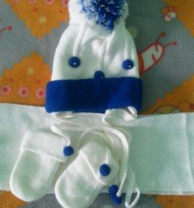 Продаю детскую шапку,шарф,варешки.
