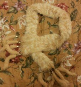 Меховой шарф из вязаного кролика