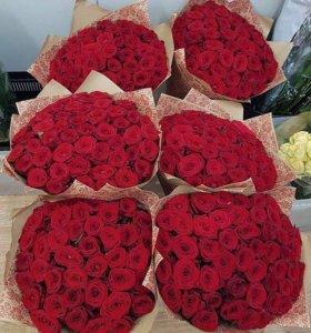 51 роза готовые букеты цветы