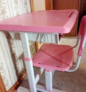 Стол и стул раздвижной, на возраст от 6ти до 12 ле
