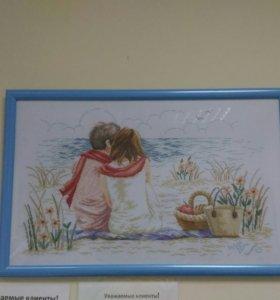 """Вышитая картина """"Пара на берегу"""""""