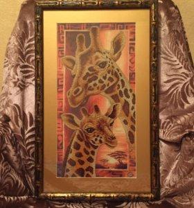"""Картина вышитая бисером """"Жирафы"""""""