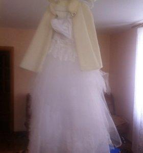 Свадебное платье + шуба