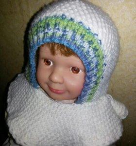 Шапка Шапочка с воротом - шарфом. На 1,5 - 2 года
