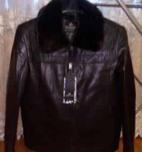 Куртка кожаная чёрная