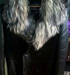 Кожаная зимния куртка