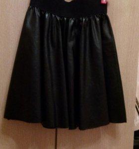 Платье(befree), юбка под кожу