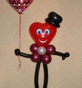 Фигуры и букеты из шаров к 14 февраля