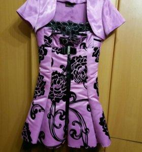 Нарядное платье, цветы бархатом