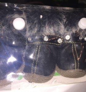Продам сапожки для собачек кожаные зима