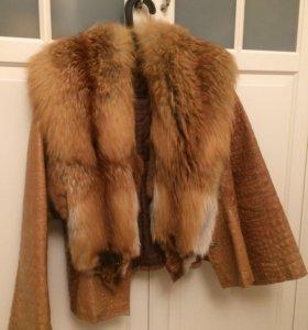 Куртка натур кожа с цельными лисами