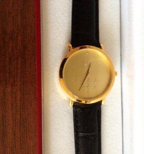 Часы позолоченные с бриллиантом (Швейцария), мужск