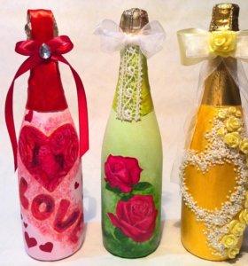 Декор бутылок и бокалов
