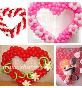 Букеты, корзины, сердце любимой из шаров