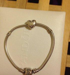 Pandora оригинал , кольцо браслет шармы