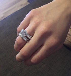 Двойное кольцо серебро 925 пробы