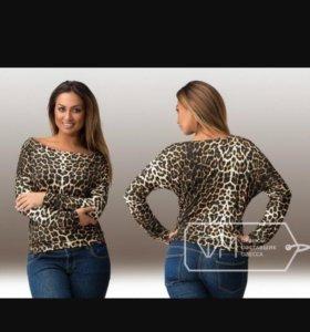 Женская леопардовая кофта рукав летучая мышь