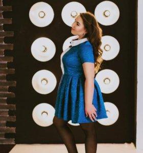 платье синий жакард