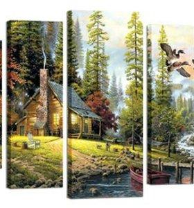 Модульная картина 80*120 см 5 мод Охотничий домик