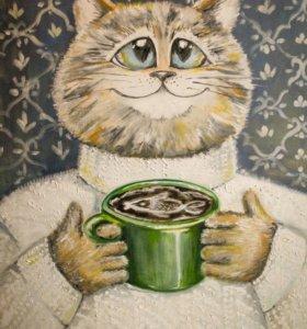 Картина 'Кот кофе и любовь'